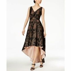 Calvin Klein NWT Exquisite BLACK Floral Sequined High-Low Gown Dress size 2414