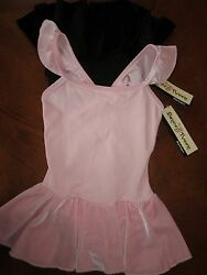 NEW BODY WRAPPERS PINK OR BLACK FANCY BACK SLEEVELESS SKIRTED GIRLS DRESS $19.95