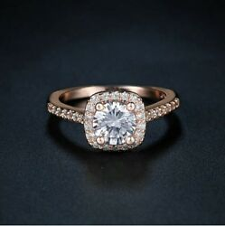 Women's Wedding Engagement Ring Cushion Cut Rose Gold Plated Size 7