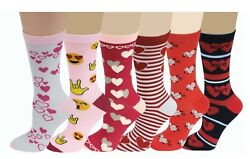 6 Pairs Womens Novelty Emojis Hearts Love Colorful Assortment Crew Socks 4 10 $11.99