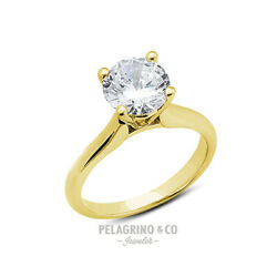 1.75 CT G-SI2 Excellent Round AGI Natural Diamond 14ky Gold Cathedral Ring 3.5mm