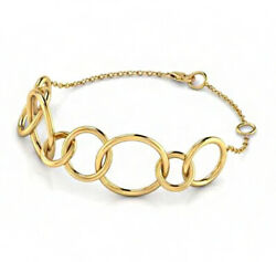18 Kt Solid Yellow Gold Women's Girls O Link Chain Bracelet Bangle Fine Jewelry