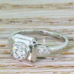 ART DECO 0.60ct OLD CUT DIAMOND SOLITAIRE RING - Platinum - FRENCH cir