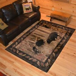 Area Rug Black Bear Cubs Home Decor Carpet Rustic Living Room Cabin Lodge New