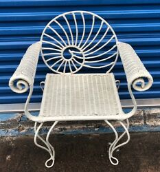 Vintage Nautilus Shell Back Motive Wicker and Iron Arm Chair