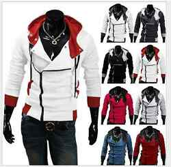 Men#x27;s Stylish Creed Hoodie Zipper Coat Cosplay For Assassins Jacket Costume Coat $13.26