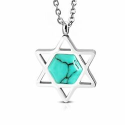 Stainless Steel Simulated Turquoise Jewish Star of David Pendant Necklace 20quot; $12.99