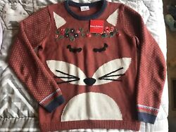 Hanna Andersson Fox Family Sweater Jumper New NWT 160 14 16 Women's XS S