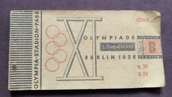 1936 Berlin Olympic games 1st class ticket book with 16 x ticket Stubs