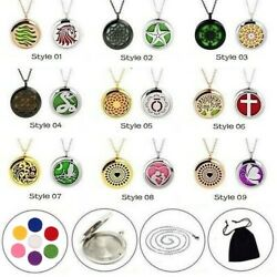2 Pack Essential Oil Diffuser Necklace Stainless Steel Locket Pandent Jewelry