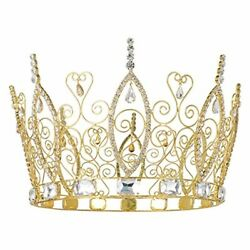 King Crowns Gold Men Crown Crystal Full Wedding Prom Pageant Party Rhinestone