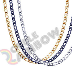 Men Women Figaro Necklace Chain Stainless Steel GoldSilverBlack 3mm-12mm Link