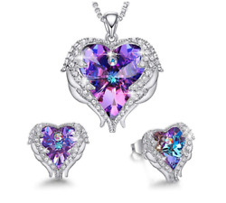 Angel Wings Heart Pendant Necklace made with Swarovski Crystal Purple Blue Gift