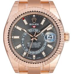Rolex Sky-Dweller 18ct Everose Gold Dark Rhodium Dial 326935