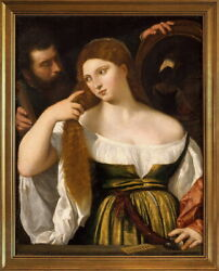 Classic Framed Tiziano Vecellio Girl Before the Mirror Giclee Canvas Print