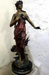 Woman In Wind Bronze Sculpture by Auguste Moreau 35