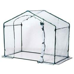 Outsunny Outdoor Portable Walk-In Greenhouse Clear PVC Cover Window Zippered