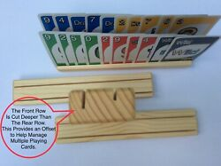 Wooden Playing Card Holder Rack  Four (4) Two Level  Best Deal $9.89