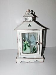 New White Metal amp; Glass Lantern with Tealight Battery Candle Snowman amp; Tree Dsgn $16.99