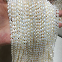 Natural White Rice Shape Freshwater Cultured Pearl Strand Strings DIY Jewelry