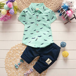 Summer Toddler Baby Kids Clothes Boys Outfits Sets Short Sleeve T-Shirt + Pants $8.99