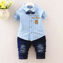 Toddler Baby Kids Clothes Boys Outfits Sets Tie Shirt  Jeans Long T-Shirt Pants $11.79