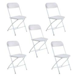 High Quality 5 Commercial White Plastic Folding Chairs Stackable Wedding Party