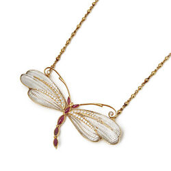 BOUCHERON 18K YELLOW GOLD DIAMOND & RUBY DRAGONFLY PENDANT NECKLACE COM2104