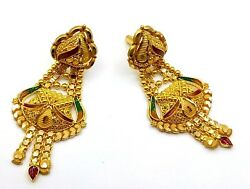 22K YELLOW GOLD FILIGREE ANTIQUE ETHNIC HANDMADE EARRING PAIR TRIBAL JEWELRY IND
