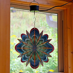 Sunnydaze 12 Inch Blue Dream Whirligig Wind Spinner with Electric Operated Motor