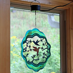 Sunnydaze 12 Inch Turquoise Hummingbird Wind Spinner w Electric Operated Motor