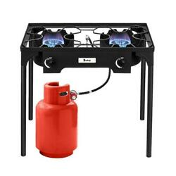 Portable Propane 150000-BTU 2 Burner Gas Cooker Outdoor Camp Stove BBQ Grill $98.79