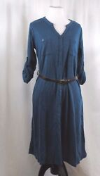 NWOT She + Sky Blue Belted Button Front Sweater Dress L NEW