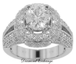 4.02 CT Women's Round Cut Diamond Engagement Ring In 18 Kt White Gold