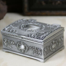Metal Vintage Jewelry Case Trinket Box Flower Carved Design Zinc Alloy Small