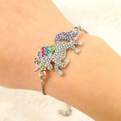 1Pc Unicorn Horse Crystal Charm Pendant Adjustable Chain Bracelet