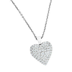 Pave diamond heart pendant and chain in 14k white gold. 4.50 carats