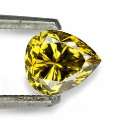 Golden Natural Fancy Colour Diamond Pear Shape 0.95 Ct Brilliant Cut for Ring