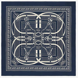 Hermes Carre 140 Shawl Stole Scarf Grand Manege Bandana Cashmere Silk Navy New