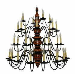 Katie's Kingston 4-Tier 36 Light Primitive Wood Chandelier - Country Colors