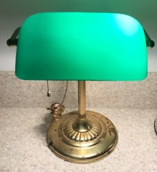 Vintage Desk Lamp Brass Bankers Piano Study Green Shade Pull Chain Antique