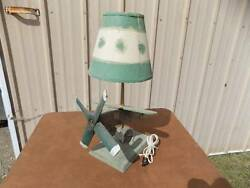 Airplane Lamp Vintage PRIMITIVE Green Wooden w shade with MUCH Patima $32.00