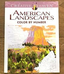 LOT OF 2 ADULT COLORING BOOK AMERICAN LANDSCAPES COLOR BY NUMBER CREATIVE HAVEN $8.99