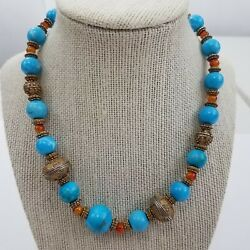 Faux Turquoise Necklace Southwest Tribal Orange Silver Tone Beaded Coral