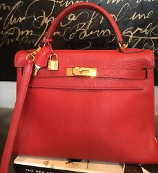 Authentic Hermes Kelly 32 Rouge Red Clemence Gold Hardware
