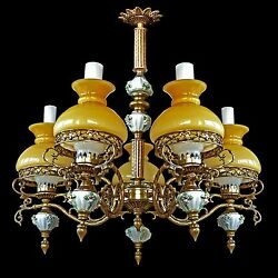 Antique French Victorian 5 Light ChandelierPorcelainBronzeYellow Glass Shad