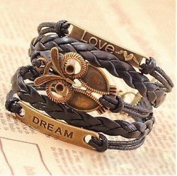 1PCS Multi-Layer PU Leather Bangle Bronze Owl Wristband Bracelet Fashion Jewelry