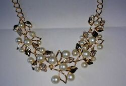 Crystal Rhinestone & Faux Pearl Gorgeous Gold Tone Necklace
