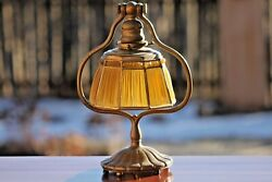 Louis C. Tiffany Dore' Bronze Harp and Linnen Fold Shade Lamp -AUTHENTIC- Signed