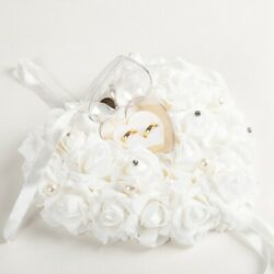 Wedding Ceremony Ivory Satin Crystal Flower Ring Bearer Pillow Cushion 6 Colors